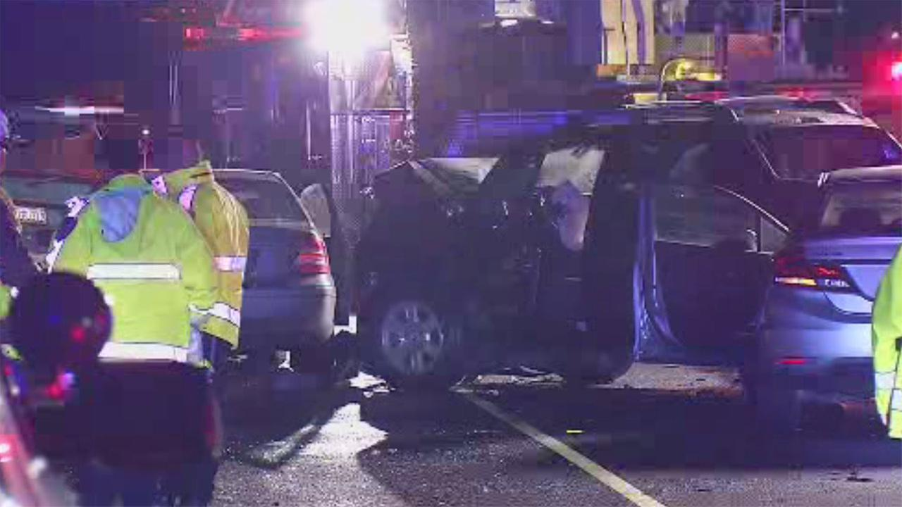 Accident on I-880 in Milpitas, California, Tuesday, January 9, 2018.