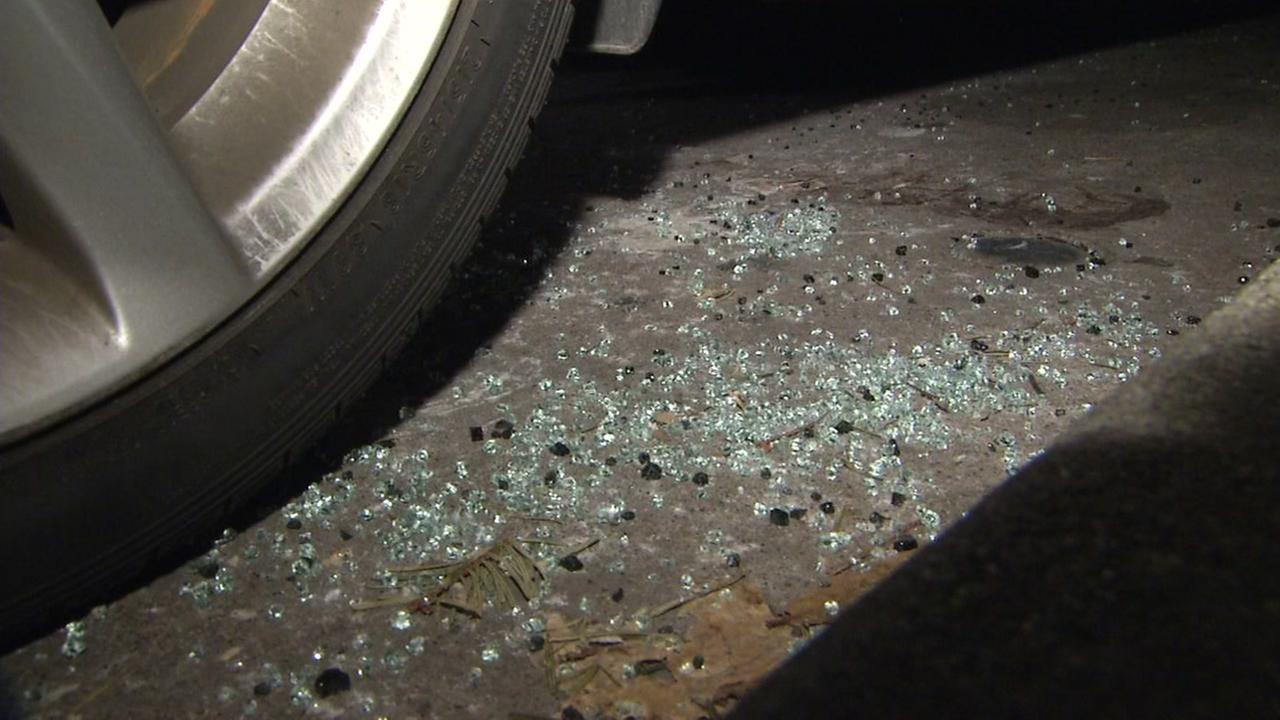 Broken glass is seen near a burglarized vehicle in San Francisco in this undated image.
