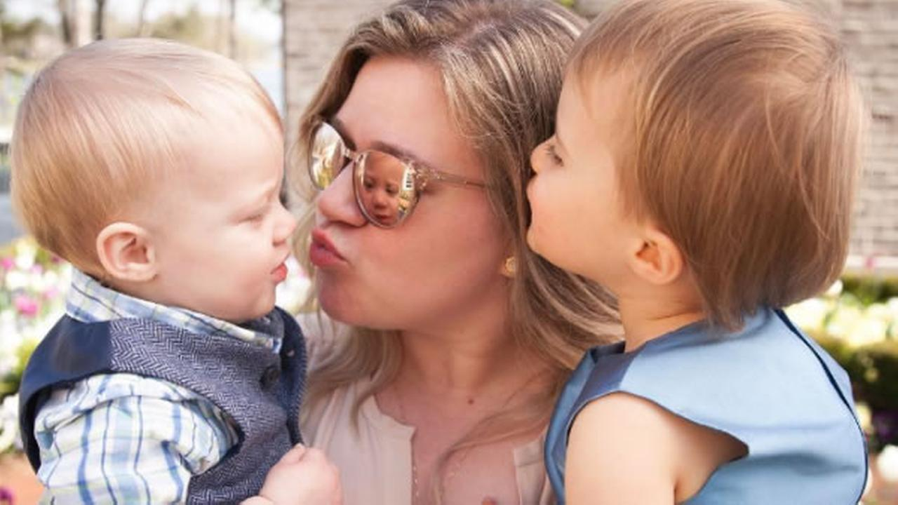 Kelly Clarkson and her children River Rose and Remington are seen in this undated image.
