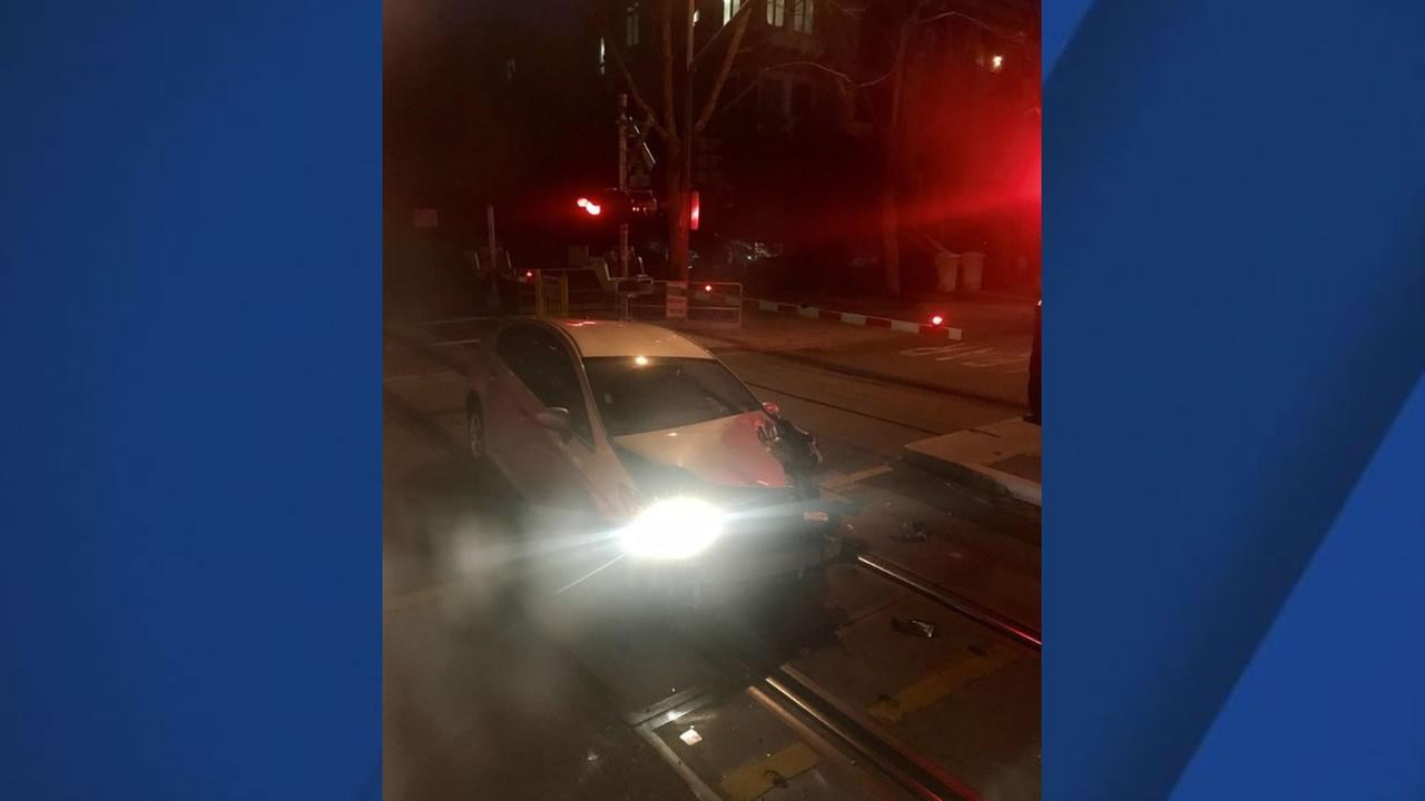 Caltrain officials say a train was involved in a collision with an unoccupied vehicle in Sunnyvale, calif. on Thursday, Jan. 11, 2018.