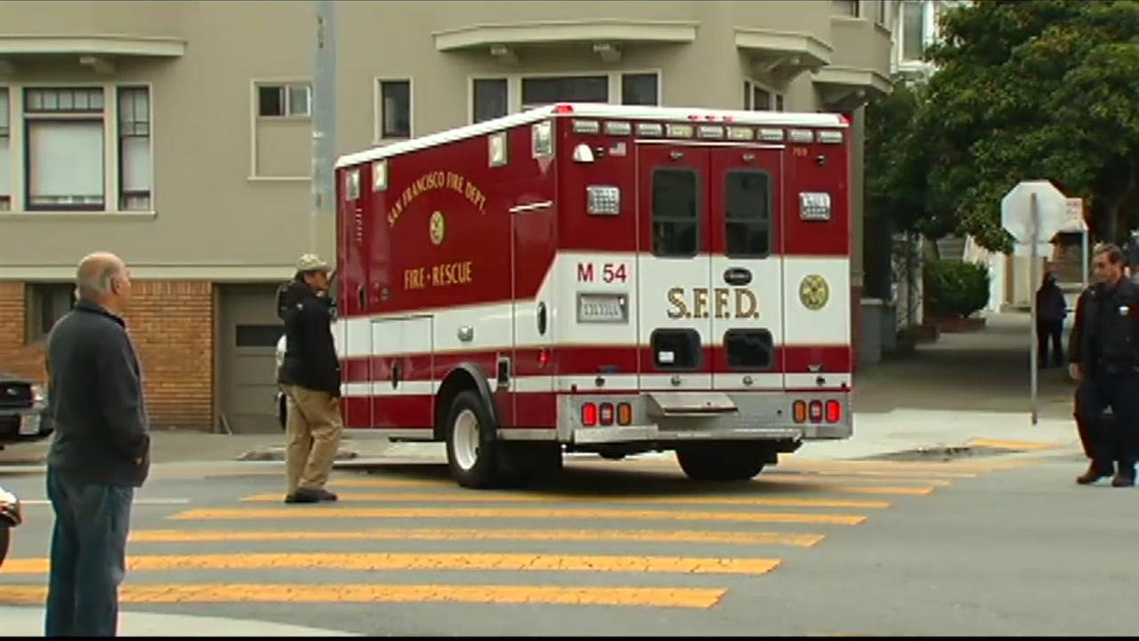 An SFFD ambulance drives down the street in San Francisco in this undated file photo.