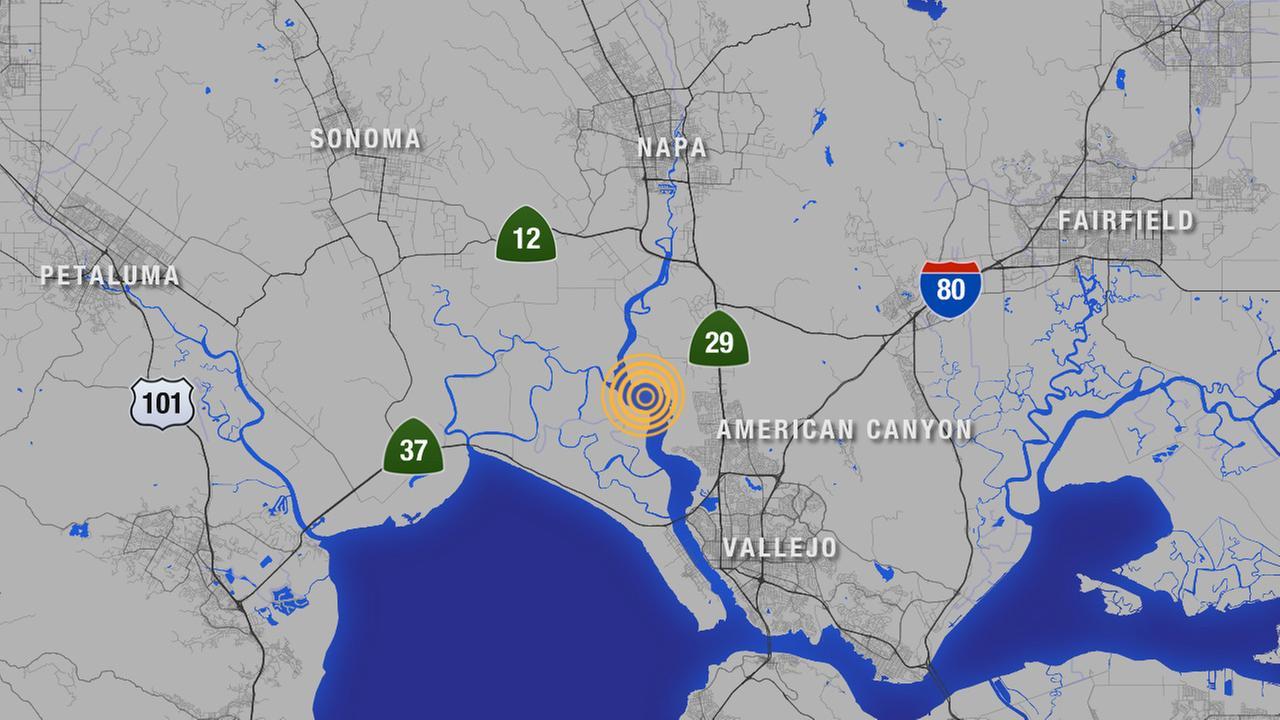 Map of 3.0 earthquake near American Canyon.