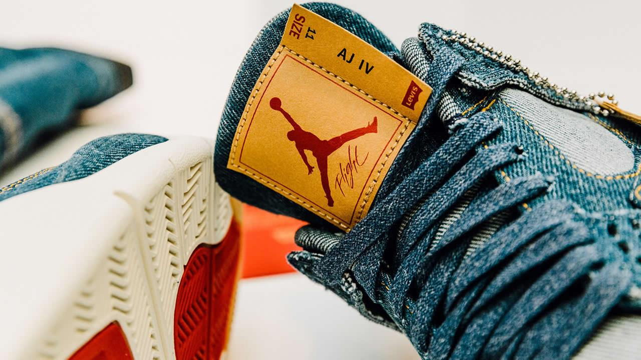 This undated image shows the Levis x Air Jordan 4s.