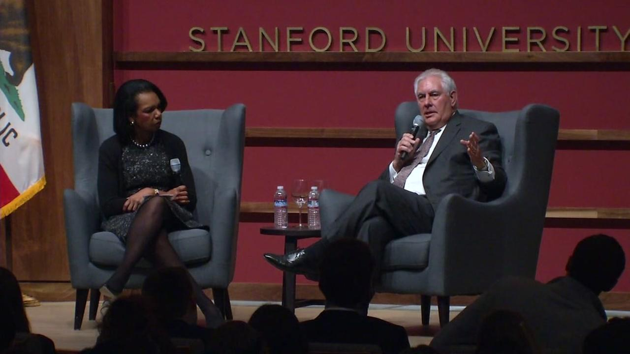 Secretary of State Rex Tillerson is seen speaking at Stanford University on Wednesday, Jan. 17, 2018.