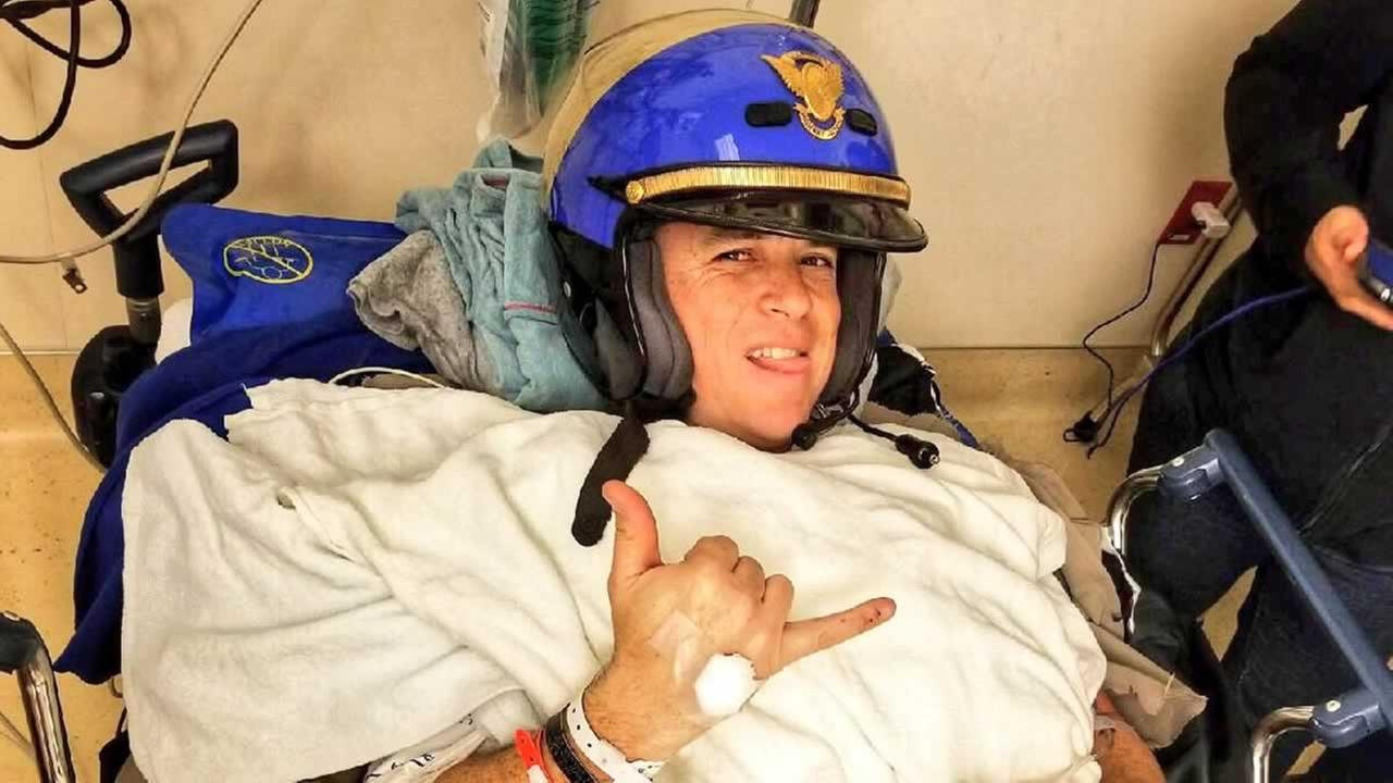 The CHP shared this photo of Officer Martin Lendway after he underwent a surgery on Wednesday, Jan. 17, 2018 following a crash on Highway 4 in Concord, Calif.