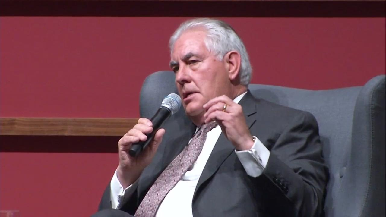 U.S. Secretary of State Rex Tillerson speaks at Stanford University on Wednesday, Jan. 17, 2018.