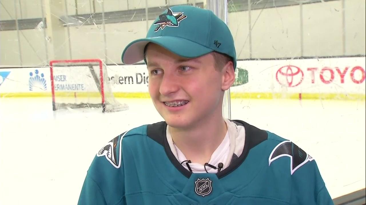 Hayden Bradley appears at Solar4America Ice in San Jose while hanging out with the San Jose Sharks on Friday, Jan 1. 2019.