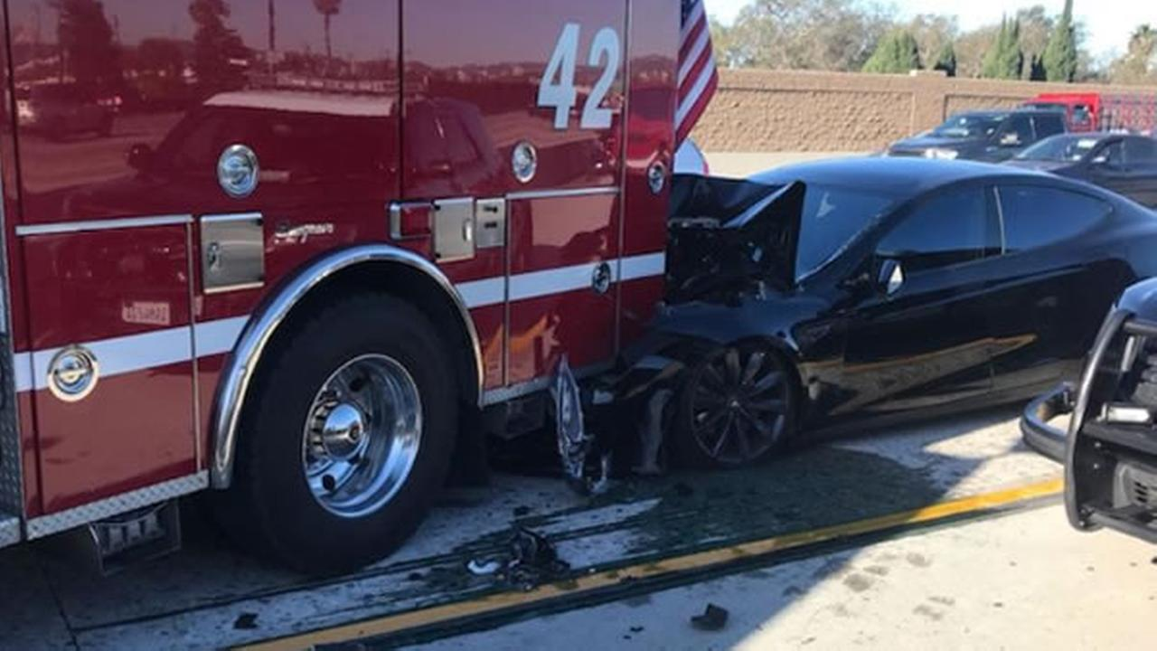 Culver City firefighters tweeted this photo of an accident involving a Tesla and a fire truck on Monday, Jan. 22, 2018.