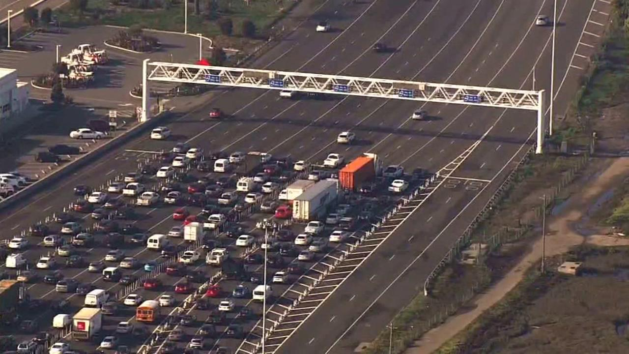 Cars are backed up before the Bay Bridge on Tuesday, Jan. 13, 2018.
