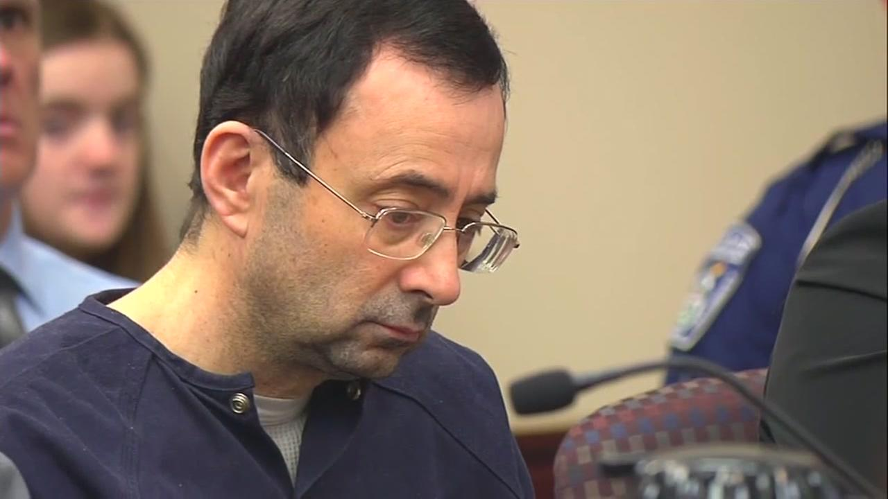 Larry Nassar is seen in court in this undated image.