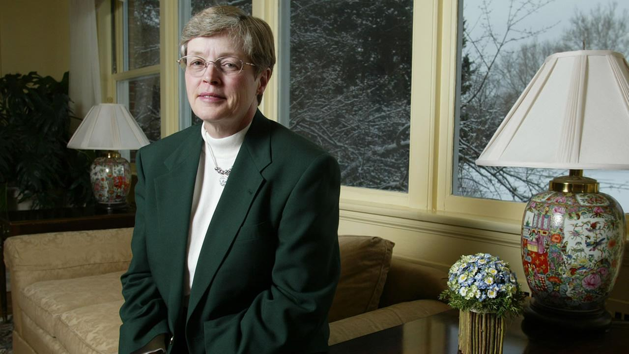 Michigan State University President Lou Anna Simon is shown in Cowles House, the presidents on-campus residence, Wednesday, Feb. 9, 2005, in East Lansing, Mich.