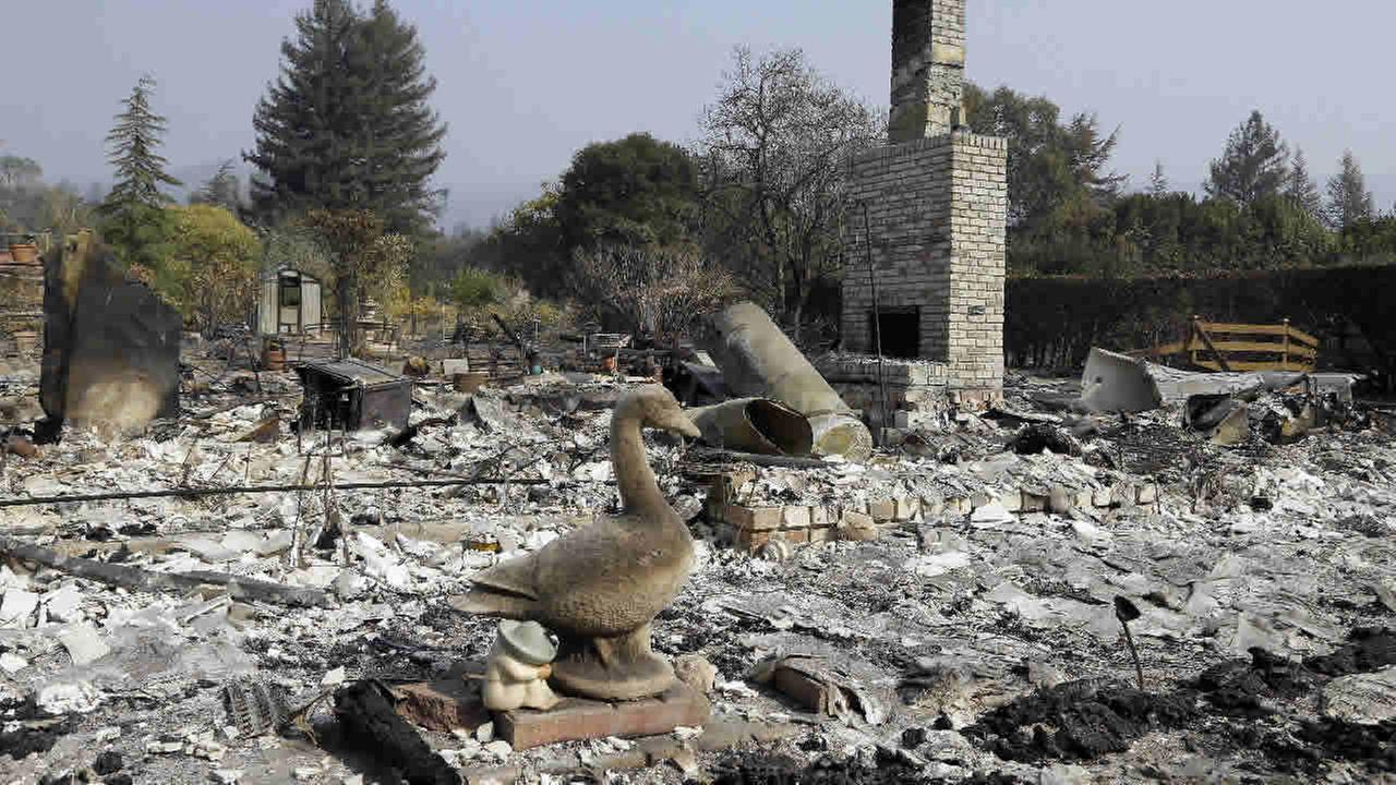 Remains of a home destroyed by wildfires is seen on Wednesday, Oct. 18, 2017, in Glen Ellen, Calif. (AP Photo/Ben Margot)