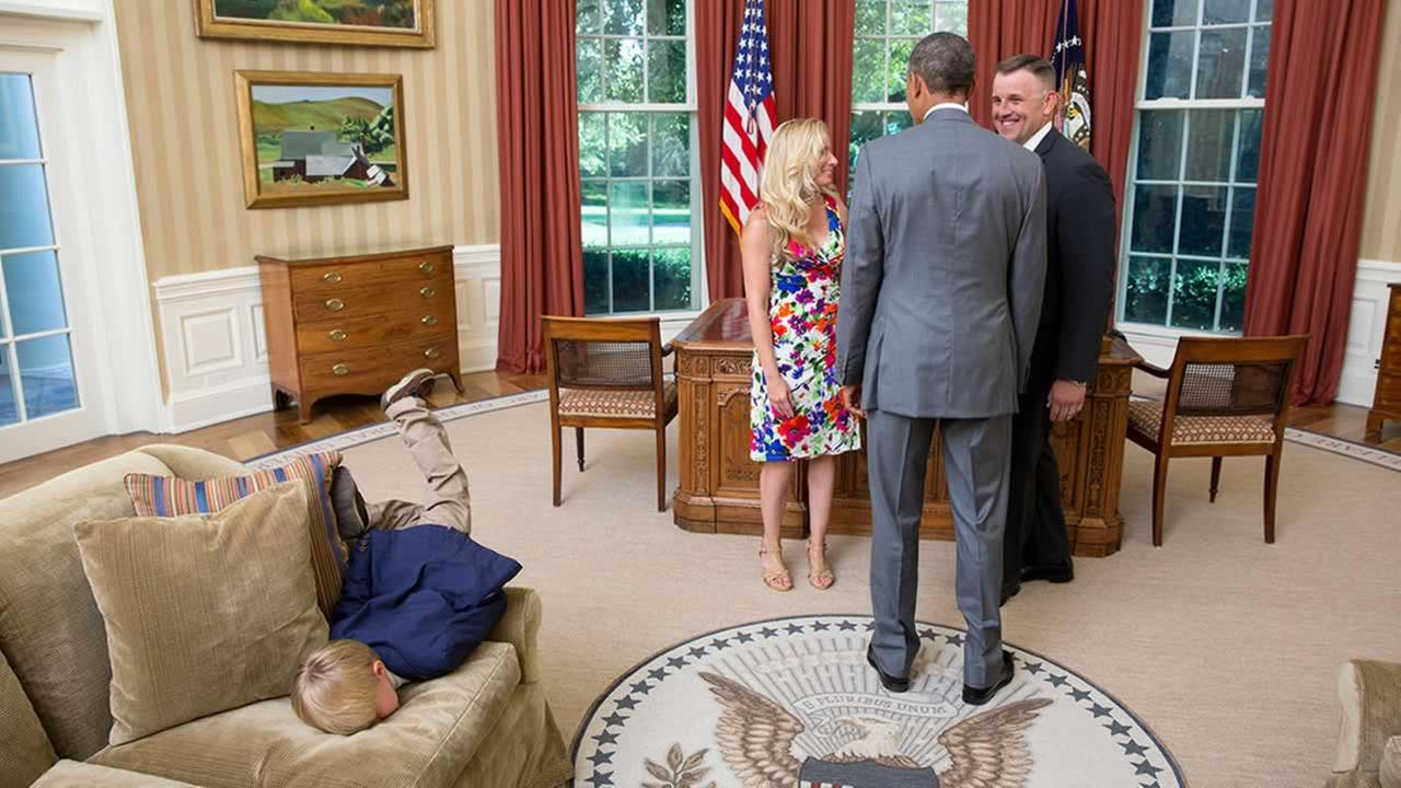 One young boy, whos either very bored or needs some attention, did a face plant right into an Oval Office sofa.