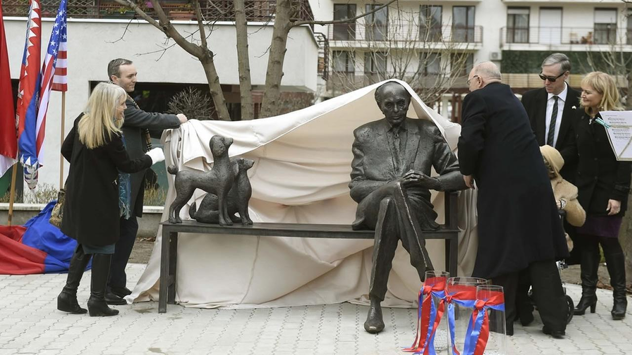 The statue of late US Congressman of Hungarian origin Tom Lantos photographed after its ceremonial unveiling in Budapest. (Noemi Bruzak/MTI via AP)