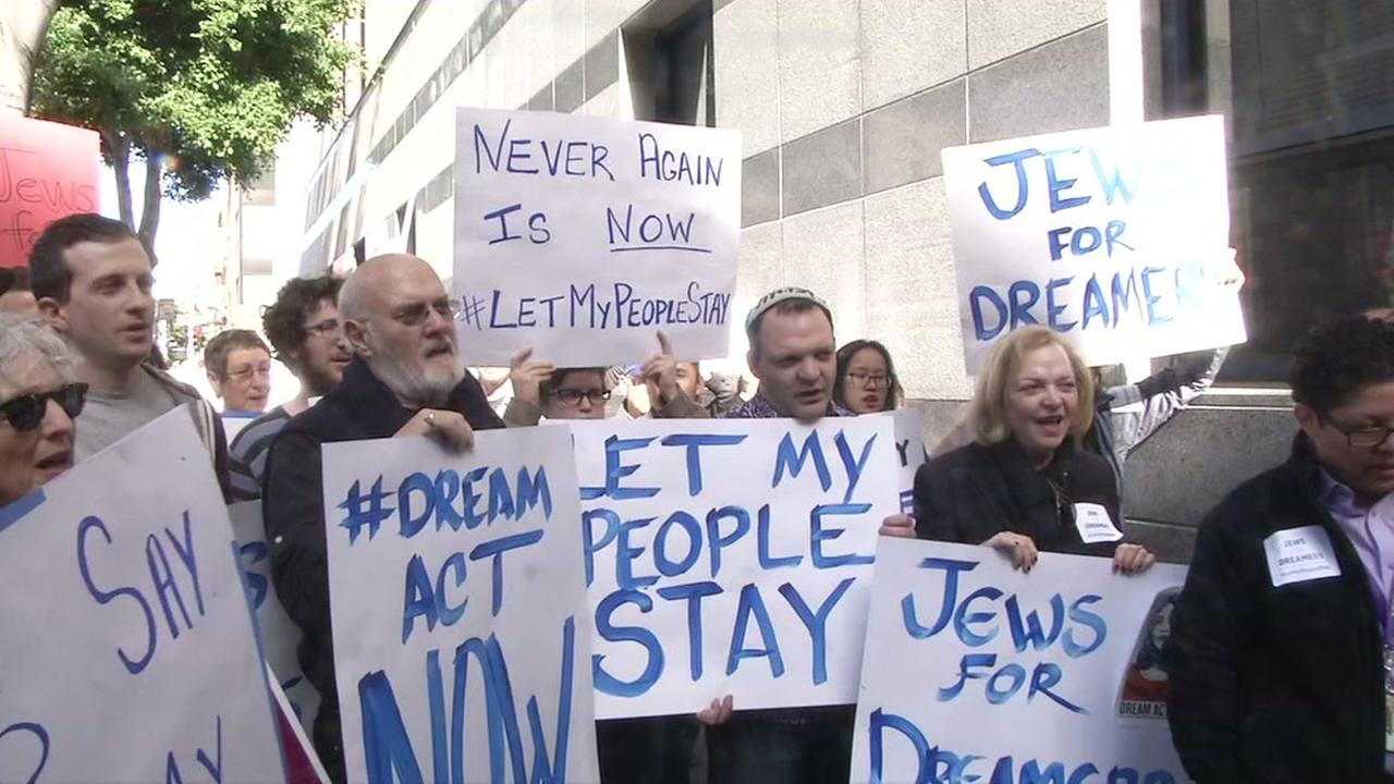 Religious groups protest ICE raids in San Francisco on Friday, Feb. 2, 2018.