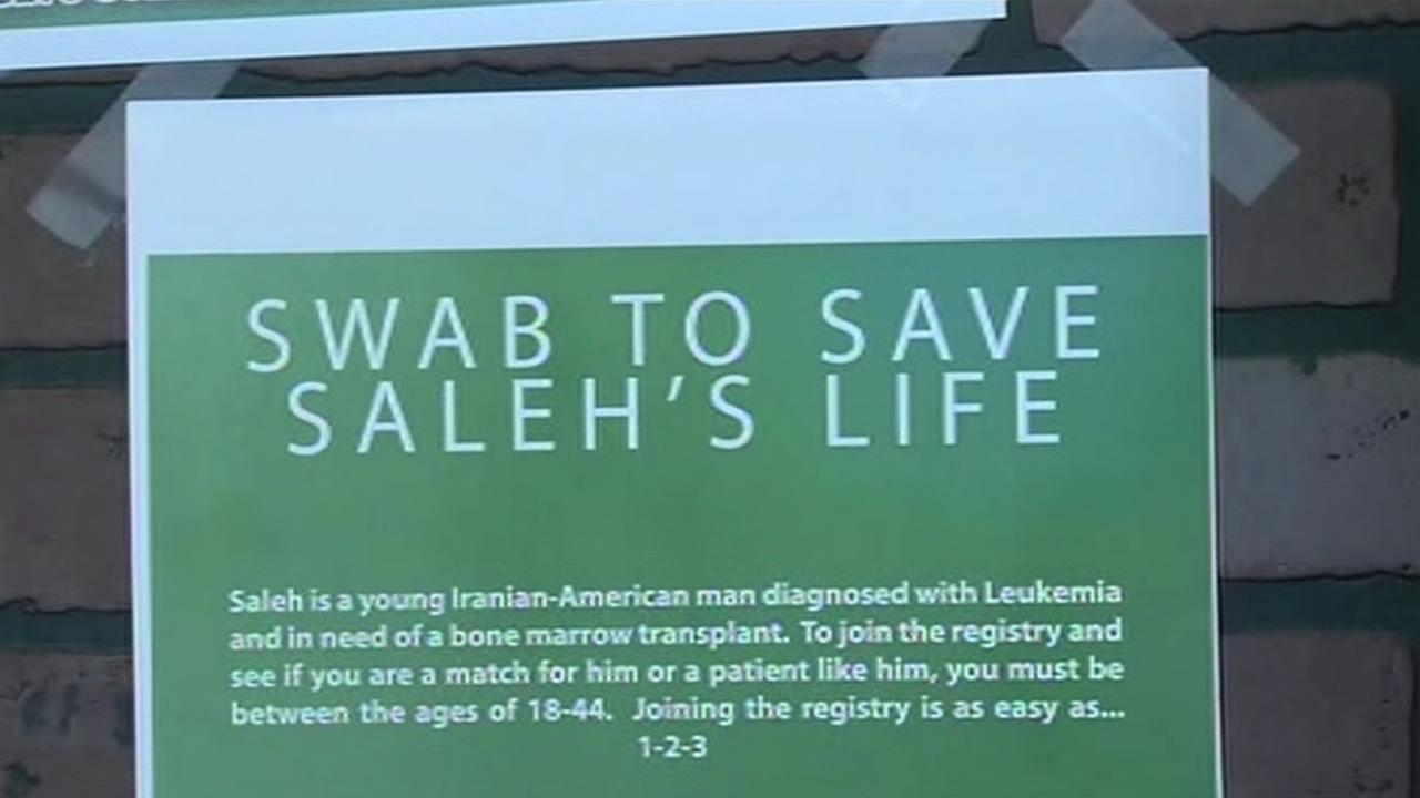 A sign posted in a Santa Clara bakery advertising a bone marrow drive for 31-year-old  Saleh Amirriazi.