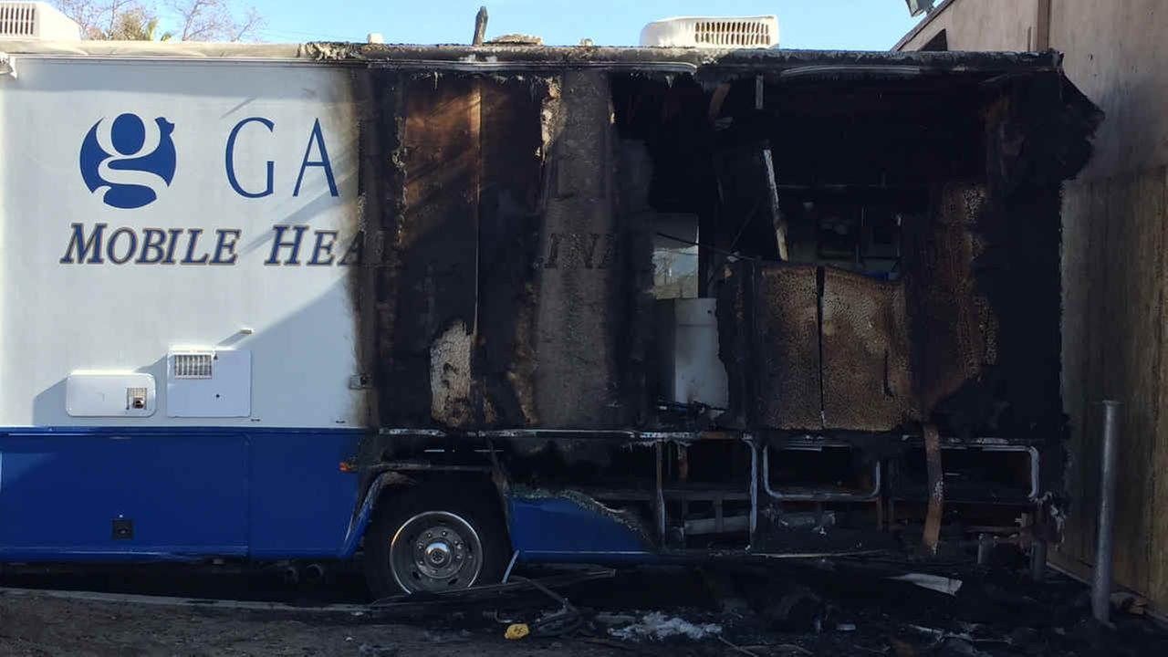 Fire damage to a mobile health unit is seen in San Jose, Calif. on Monday, Feb. 5, 2018.