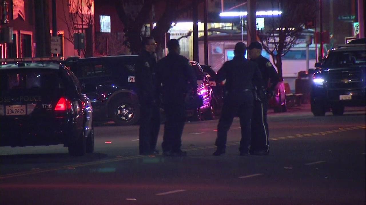 Police investigate crime scene in San Jose, California, Tuesday, February 6, 2018.