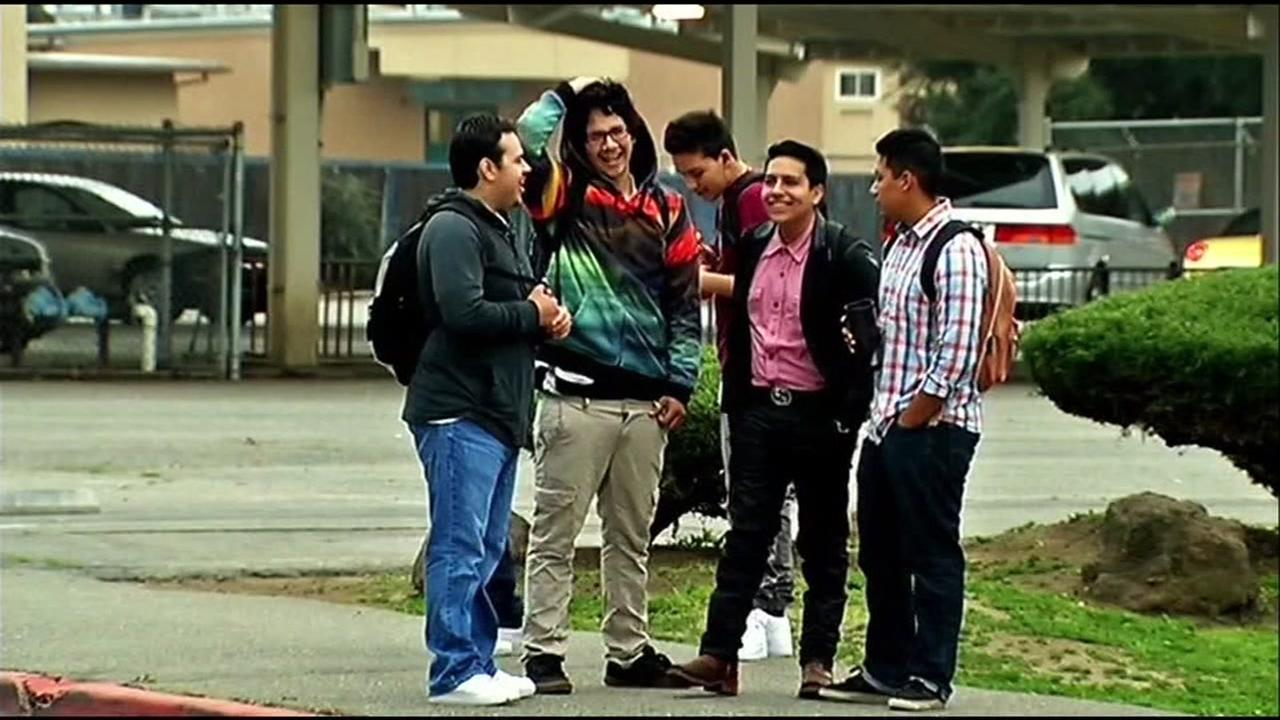 Students appear near a Concord high school on Tuesday, Feb. 6, 2018.