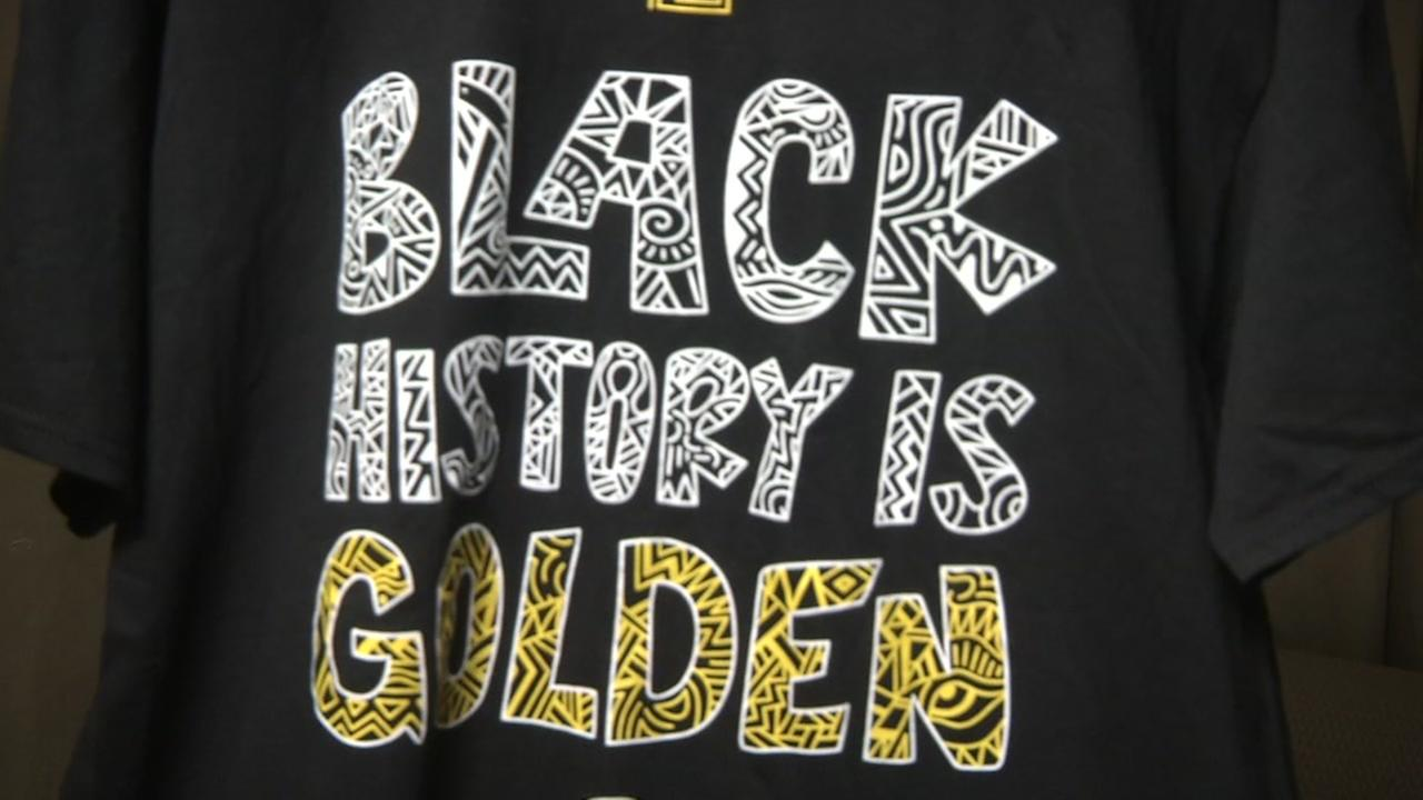 The Golden State Warriors Black History Month tribute shirt appears in Oakland, Calif. on Tuesday, Feb. 6, 2018.