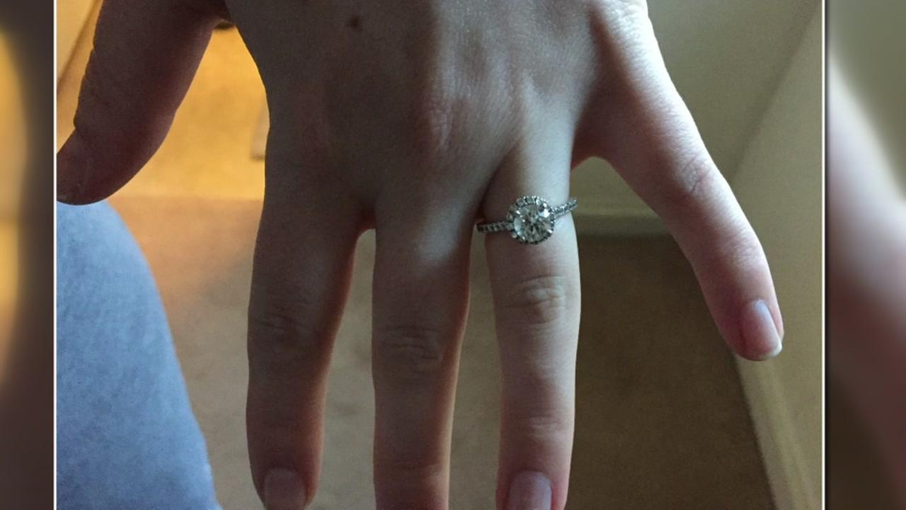 Haleigh Morrissey shows off the engagement ring recovered after she accidentally flushed it down the toilet.