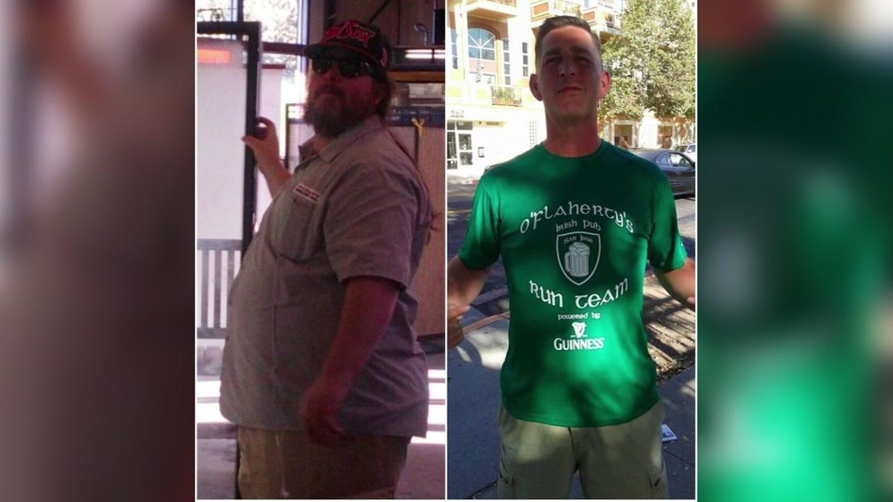 Jake McClusley of San Jose, Calif. is seen before and after his monumental weight loss.