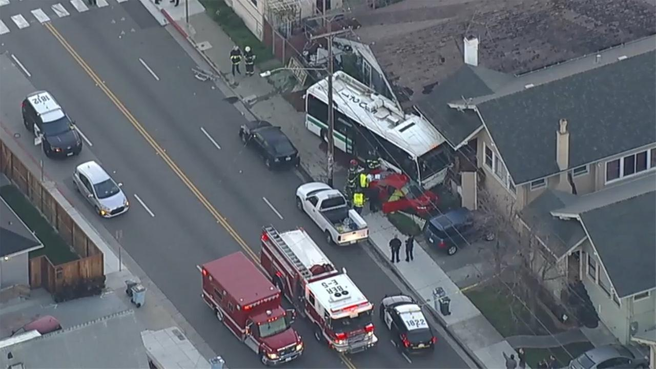 AC Transit bus crashes into two homes in Berkeley, California, Thursday, February 8, 2018.