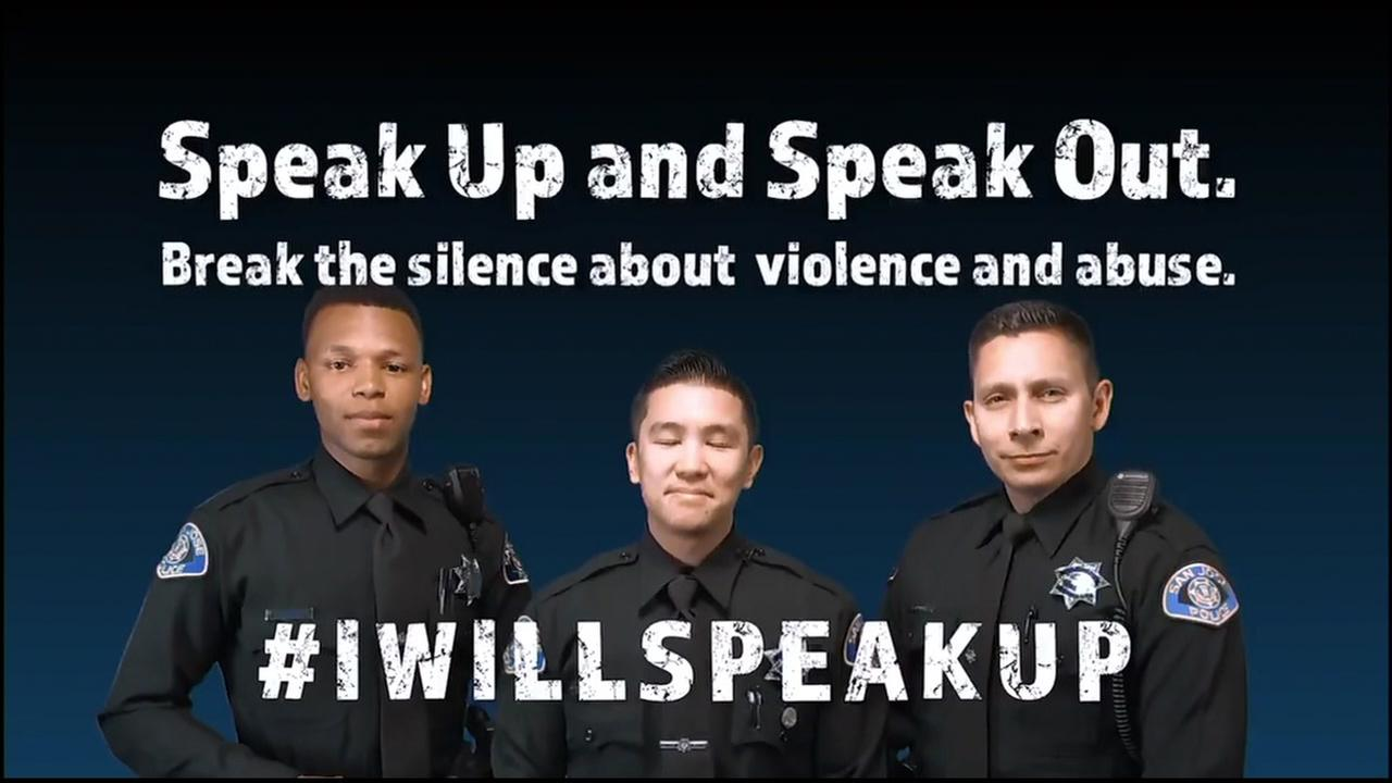 San Jose police officers appear in this undated image from a video promoting anti-domestic violence tactics and speaking out.