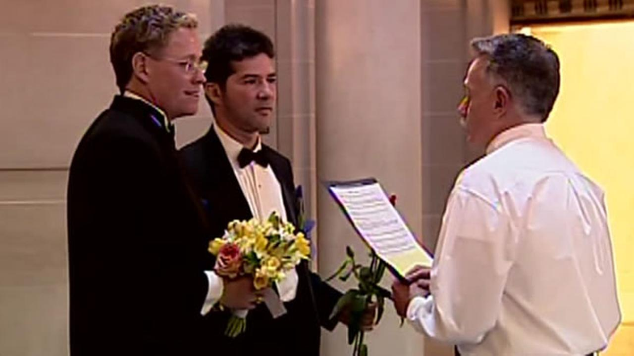 A same-sex couple gets married at San Franciscos City Hall in this archive photo from 2004.