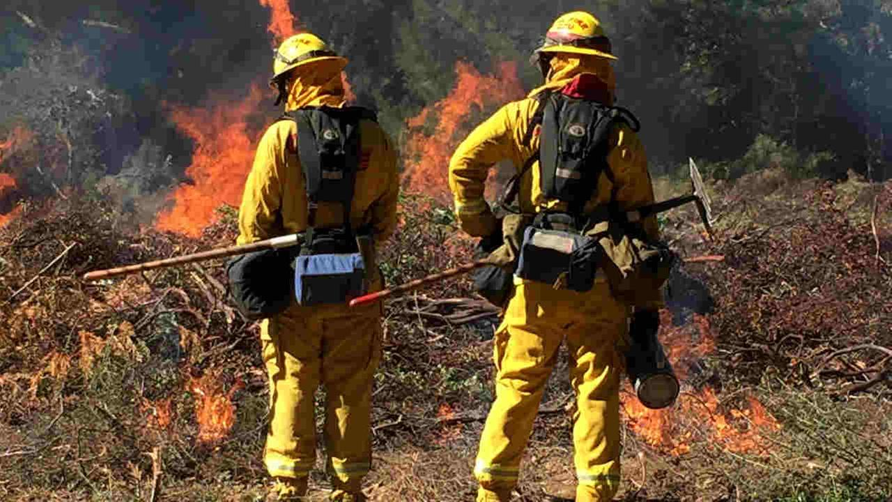 Cal Fire workers are seen during a prescribed burn in Santa Cruz, Calif. on Tuesday, Feb. 13, 2018.