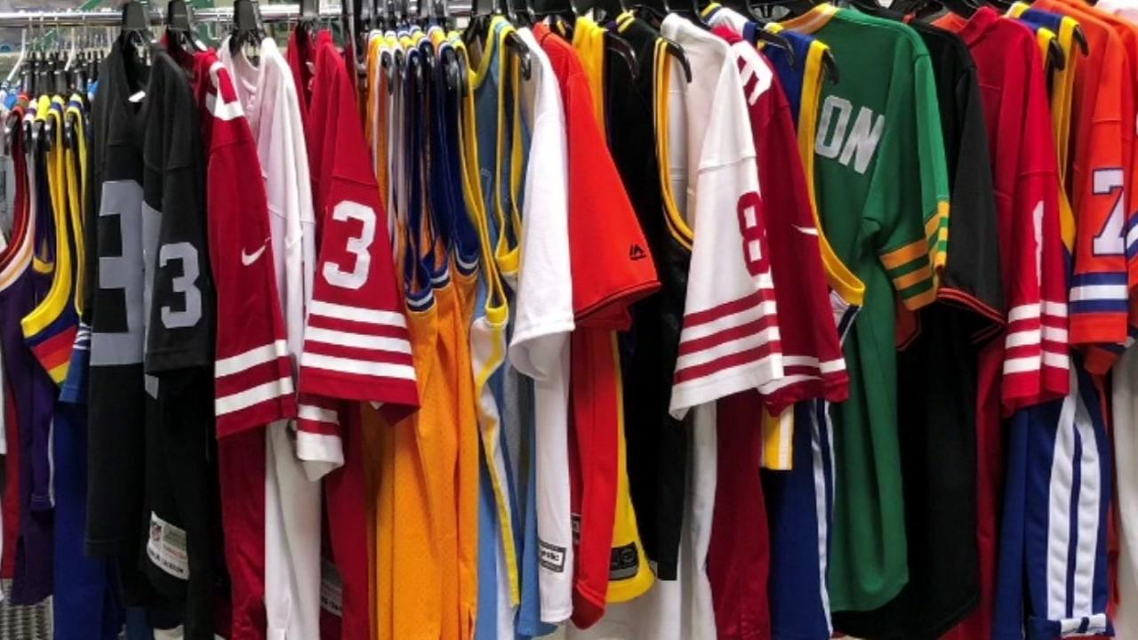 A clothing rack full of jerseys is pictured in this undated file photo.