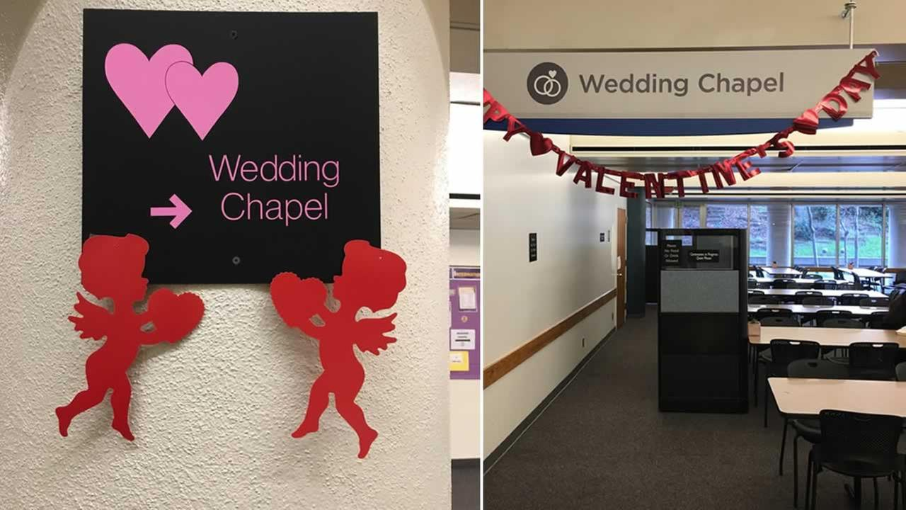 Love is in the air at the Santa Clara County Clerk-Recorders Office in San Jose, Calif. on Wednesday, Feb. 14, 2018.