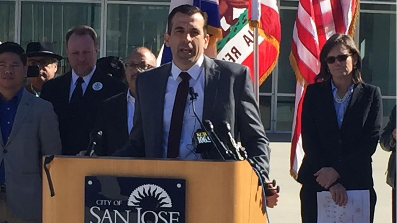 Mayor Sam Liccardo unveils a major climate change plan in San Jose, Calif. on Thursday, Feb. 15, 2018.