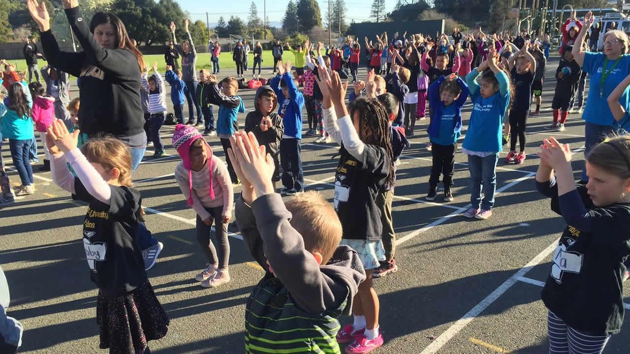 Children at Loma Verde Elementary School in Novato, Calif. exercise on Friday, Feb. 16, 2018.
