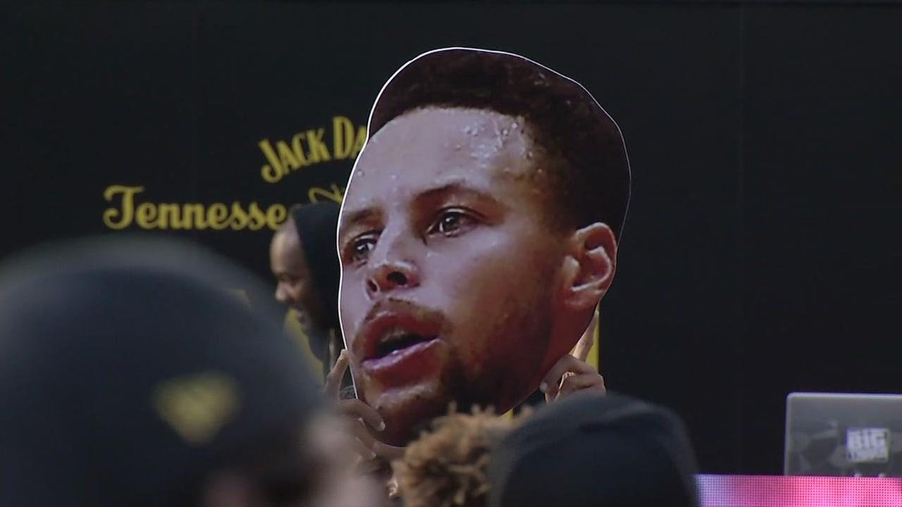 A Stephen Curry poster appears at the NBA All-Star Game in Los Angeles, Calif. on Friday, Feb. 16, 2018.