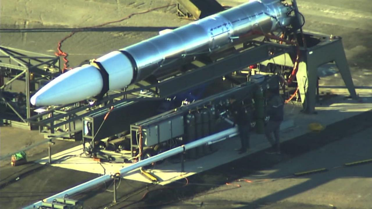 SKY7 caught what looked like a rocket in Alameda, Calif. on Friday, Feb. 16, 2018.