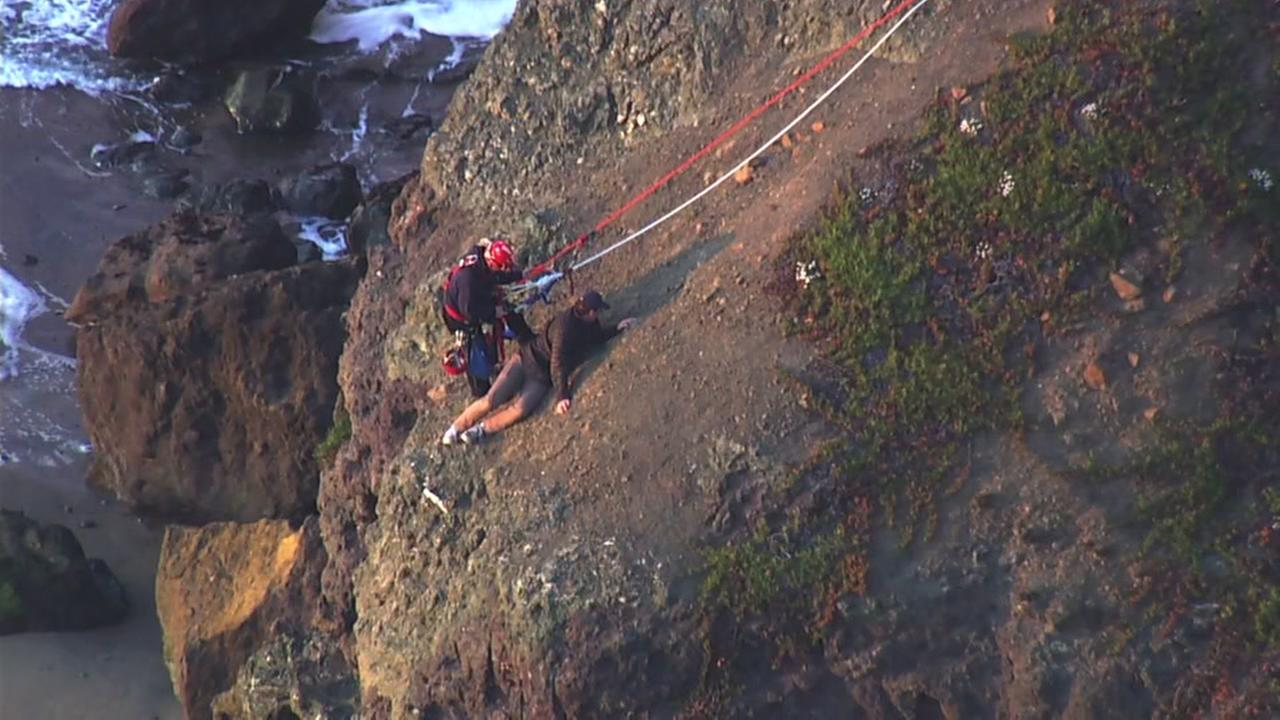 Emergency crews rescued a person trapped on a cliff at San Franciscos Lands End on Monday, Feb. 19, 2018.