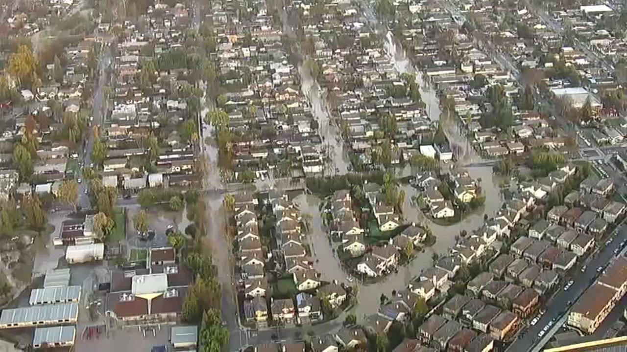 Aerial footage shows the flooding in San Jose, Calif. in February 2017.