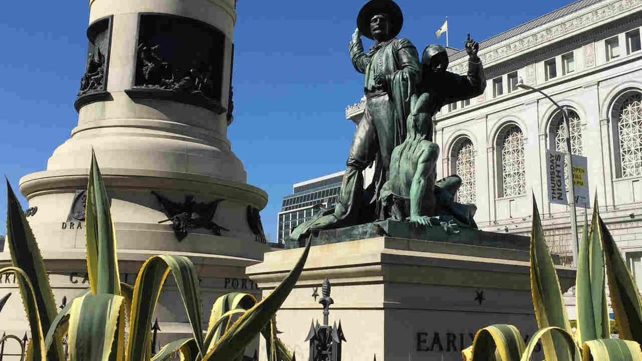 A statue named Early Days is seen in San Francisco in this undated image.