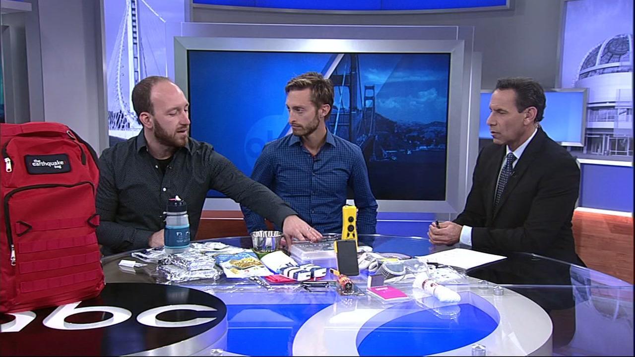 Skyler Hallgren and Zach Miller from Earthquake Bag speak to ABC7 News Larry Beil on Wednesday, Feb. 21, 2018.