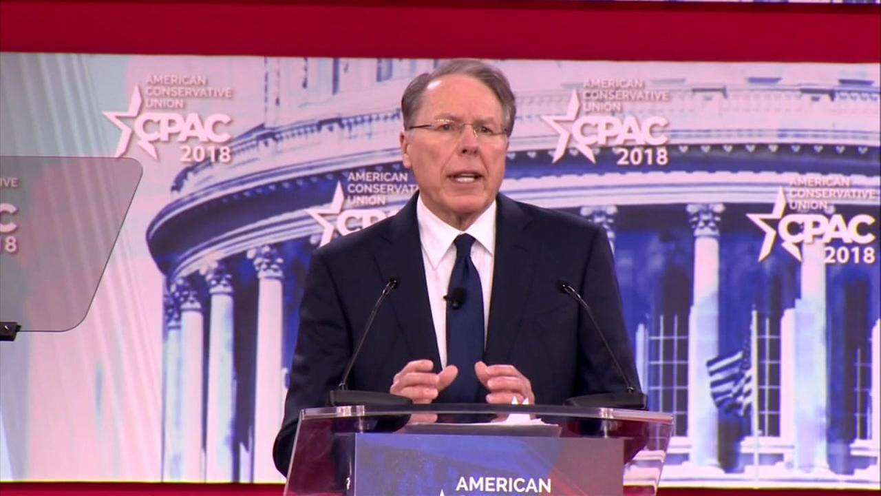 NRA leader Wayne LaPierre spoke at the Conservative Political Action Conference in Oxon Hill, Maryland on Thursday, Feb. 22, 2018.