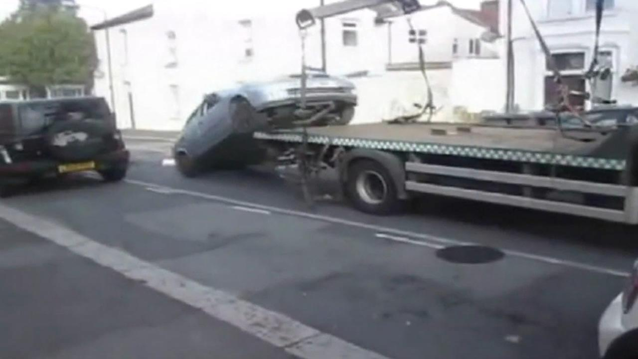 Driver takes extreme measures to avoid having car impounded.