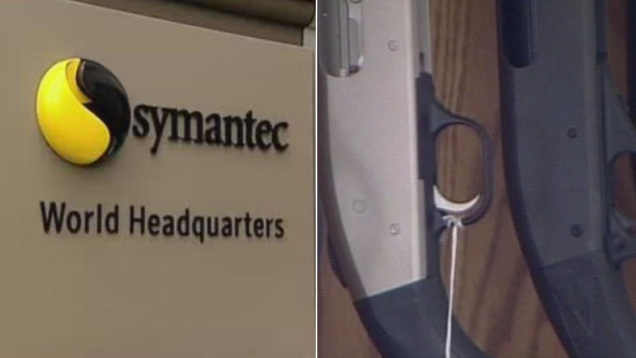 A Symantec sign is pictured next to a file photo of a gun.
