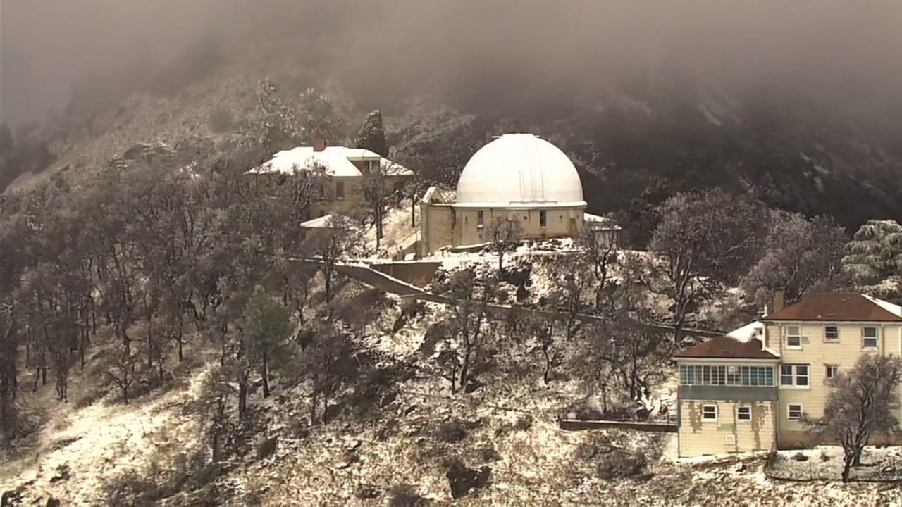A dusting of snow fell on Mt. Hamilton at Lick Observatory on Monday, Feb. 26, 2018.