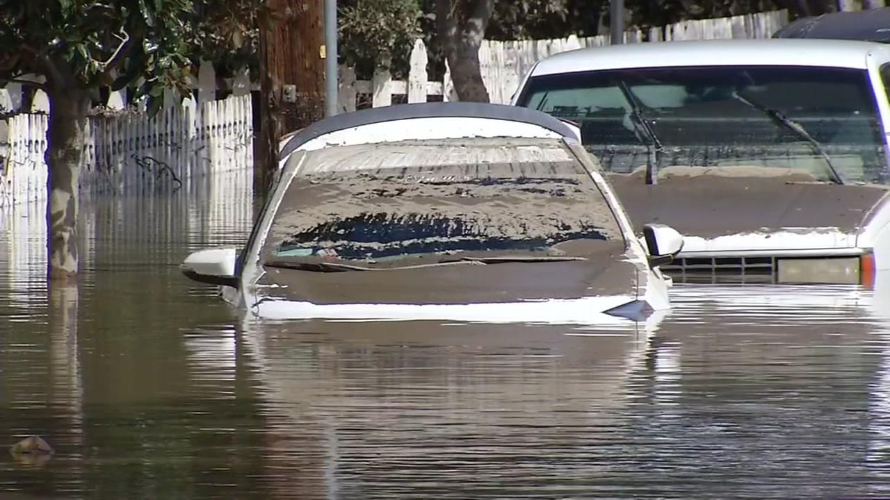 Flooded cars appear in San Jose, Calif. in this undated image.