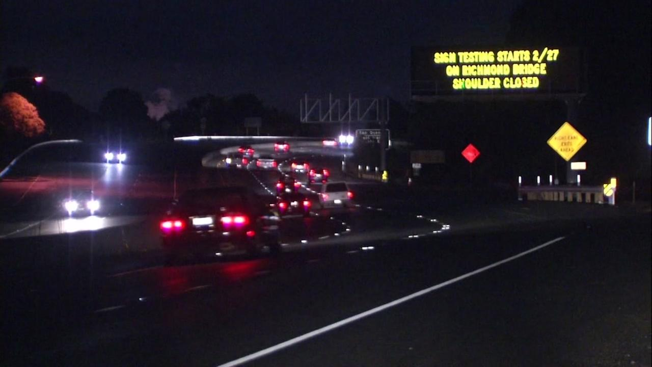 A sign appears near the Richmond-San Rafael Bridge on Monday, Feb. 26, 2018.