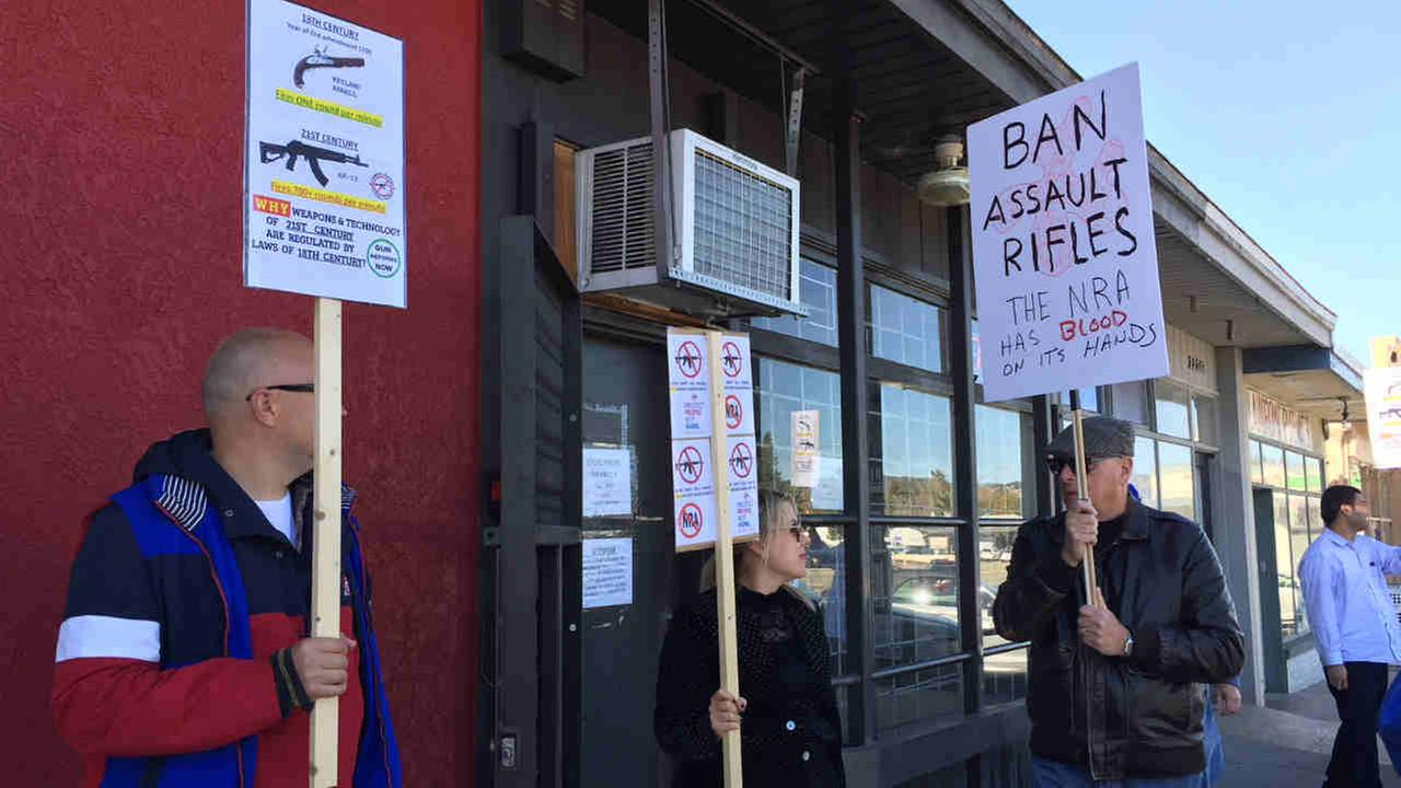 Protesters calling for gun control are seen outside a Castro Valley, Calif. gun store on Tuesday, Feb. 27, 2018.