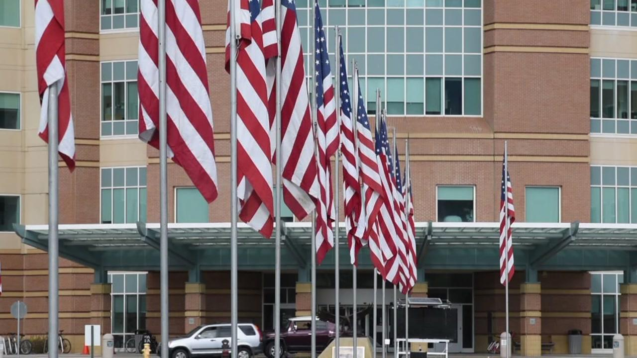 Flags appear outside of a Palo Alto, Calif. veterans facility in this undated image.