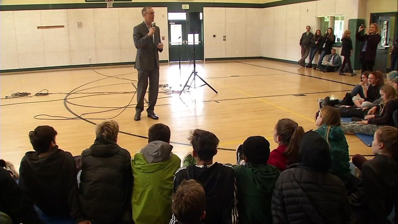 Jared Huffman speaks to a group of students in San Geronimo, Calif. on Thursday, March 1, 2018.