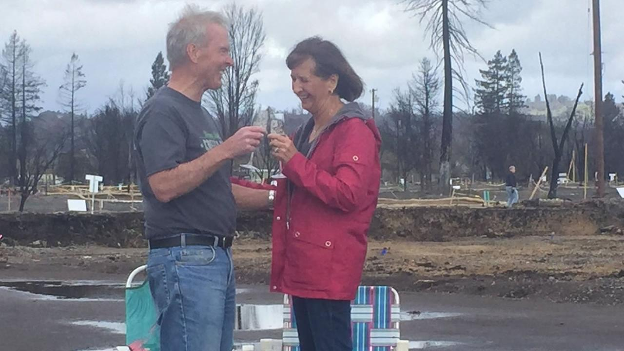 John and Nancy Crosby celebrate the re-building of their new home in Coffey Park on Thursday, March 1, 2018.